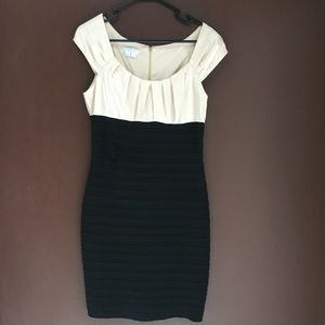 Black & Cream Cap Sleeve fitted Dress